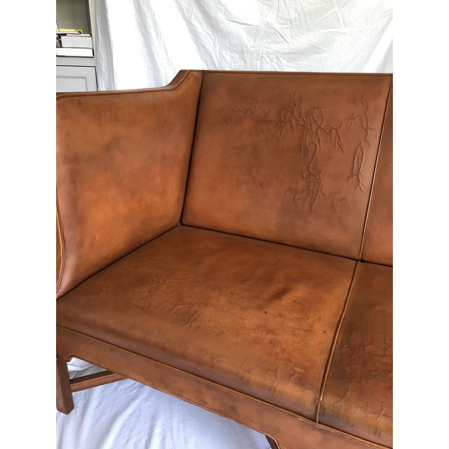 Kaare Klint Model 4118 Leather and Legs of Mahogany Sofa For Sale In Los Angeles - Image 6 of 8