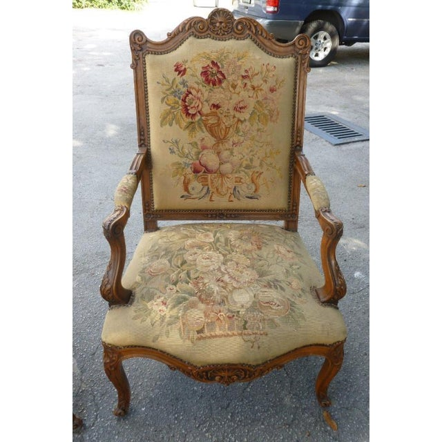 Wood 20th Century French Petit Point Needlepoint Seat Bergere Chairs - a Pair For Sale - Image 7 of 13