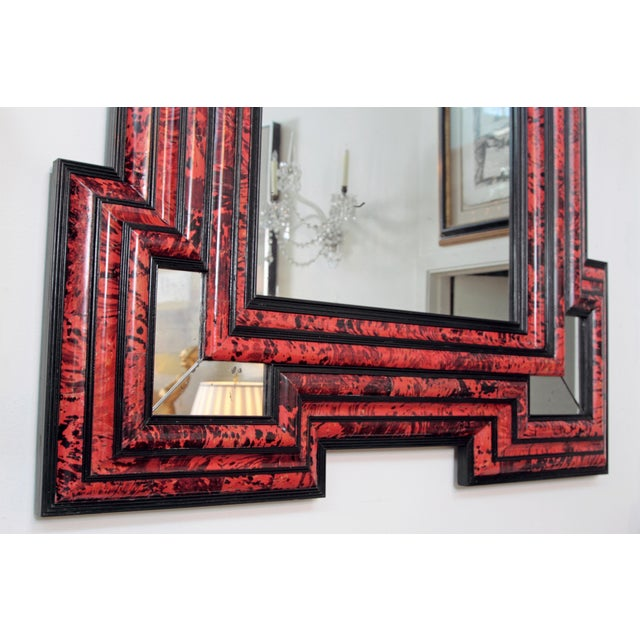 Black Large Scale Pair of Exceptional Dutch Baroque-Style Red Tortoise Mirrors For Sale - Image 8 of 13
