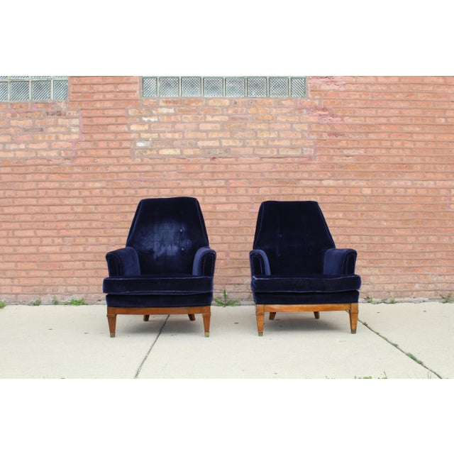 1960s Art Deco Blue Mohair Velvet Armchairs - a Pair For Sale - Image 13 of 13