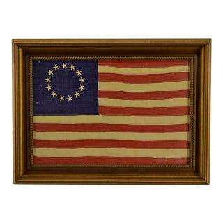 Vintage Canvas Print of Antique Betsy Ross Flag, Framed For Sale