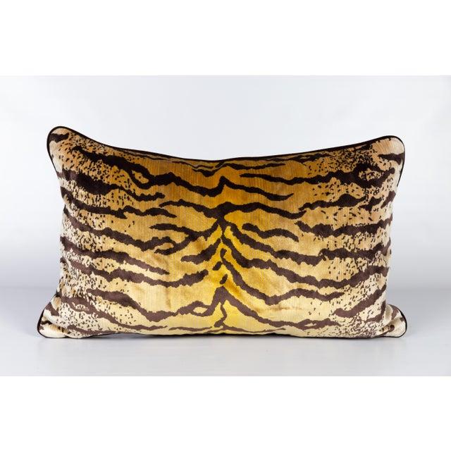 Velvet and Silk Tiger Lumbar Pillow For Sale In Atlanta - Image 6 of 6