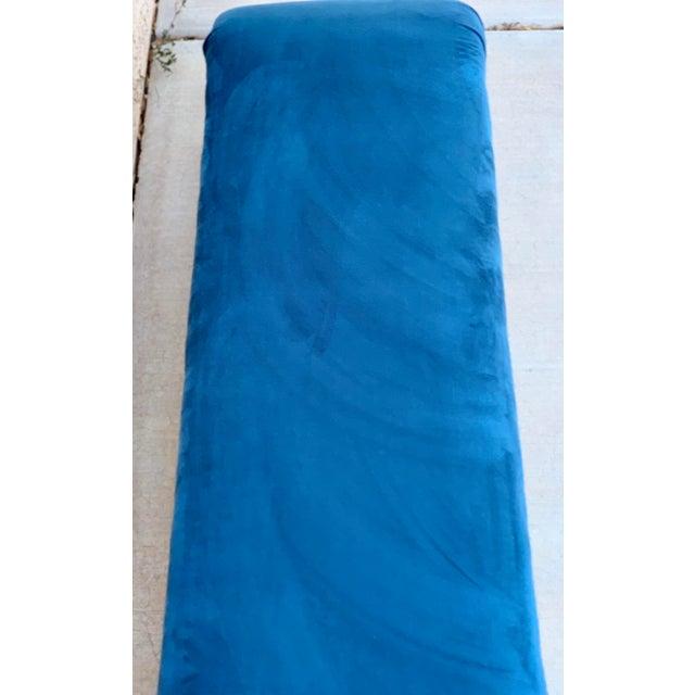 Mid-Century Modern Karl Springer Style Waterfall Bench in Teal Velvet For Sale - Image 3 of 8