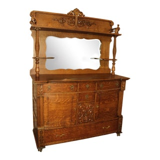 Late 19th Century Antique Oak Buffet Sideboard With Mirror & Twisted Columns For Sale