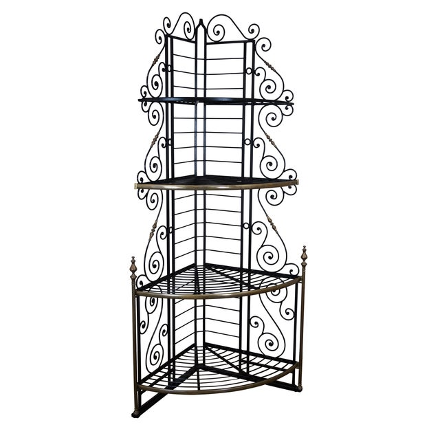 Quality Vintage French Iron Corner Bakers Rack - Image 1 of 10