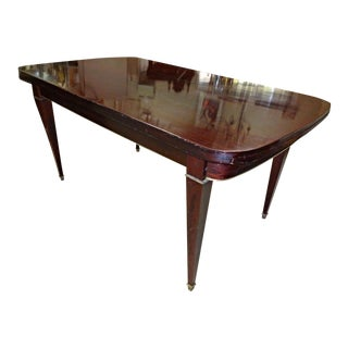 Mahogany Brass Neoclassical Style Refractory Extension Dining Table