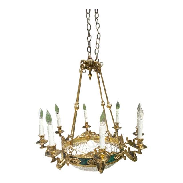 10-Light Brass Swan Chandelier - Image 1 of 4
