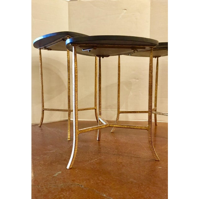 Arteriors Home Arteriors Modern Black and Gold Connor Nesting Tables Set of Three For Sale - Image 4 of 5