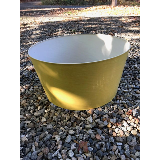 Mid-Century Modern Vintage Yellow High Gloss Drum Shade For Sale - Image 3 of 6