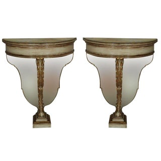 Pair Maison Jansen Polychrome Parcel Gilt Demilune Console Tables Fine Detail For Sale