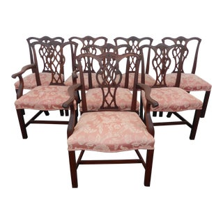 Vintage Chinese Chippendale Pink Dining Chairs - Set of 8 For Sale