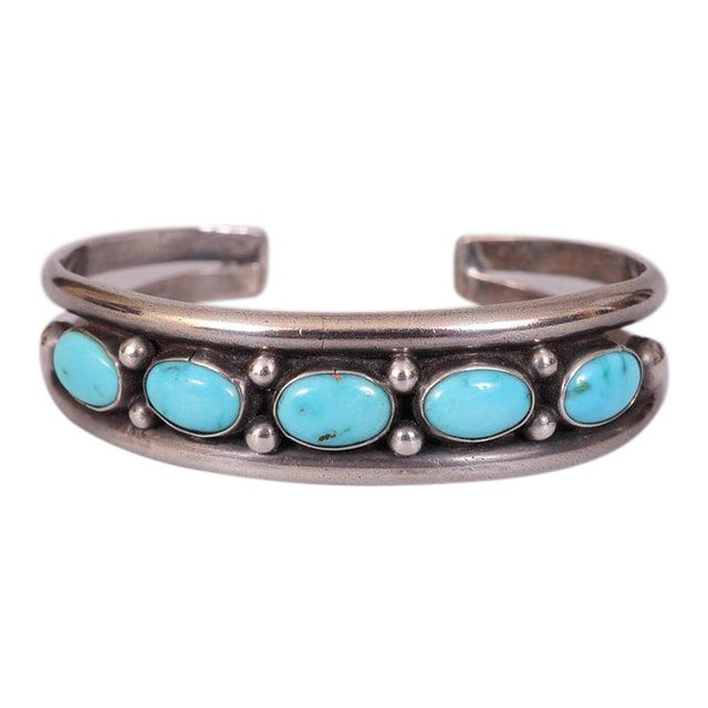 Native American Silver and Turquoise Bracelet For Sale