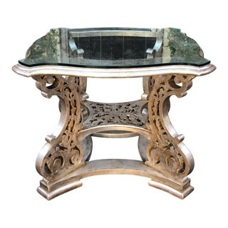 Regency Style Silver Silver Giltwood Designer Center Table For Sale