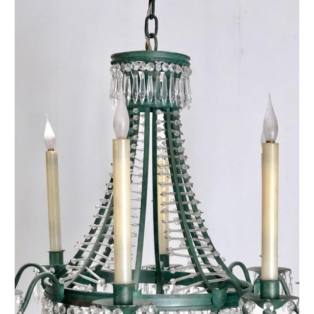 Baltic Metal and Crystal 6 Light Chandelier, Sweden Circa 1920 For Sale - Image 4 of 7