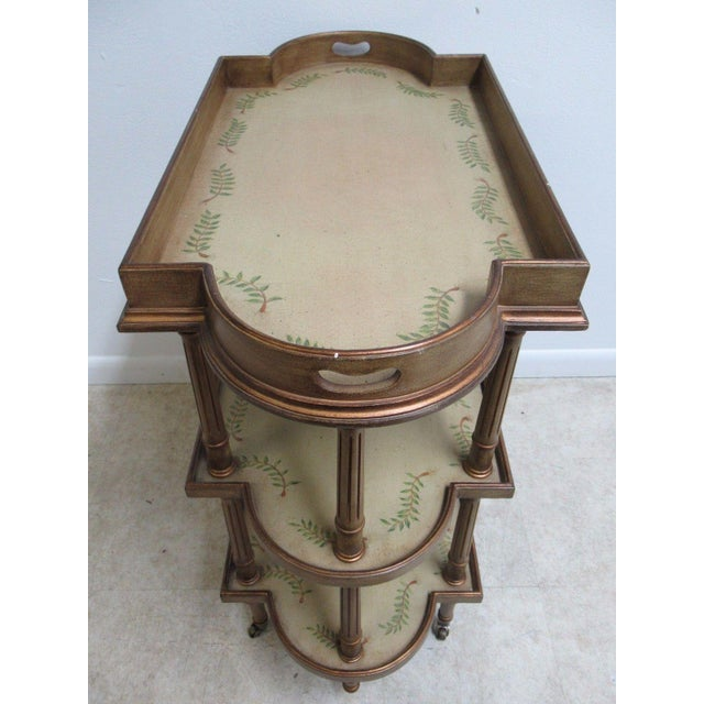 Brown Neoclassical 3 Tiered Paint Decorated Lamp End Table For Sale - Image 8 of 9