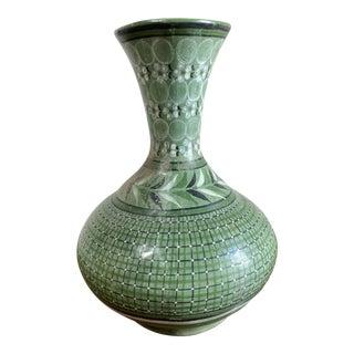 Vintage Mexican Ceramic Bottle Vase For Sale