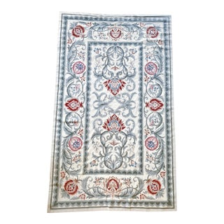 Mid 20th Century Vintage Needlepoint Dhurrie Rug-4′7″ × 7′8″ For Sale