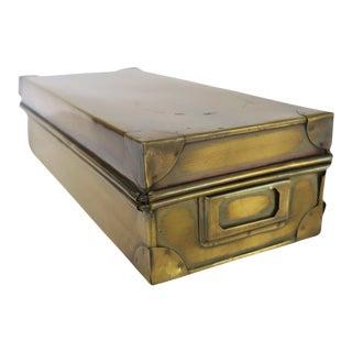 Vintage Brass Metal Long Rectangle Storage Box with Label Holder