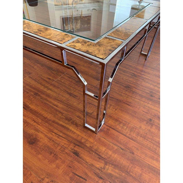 Late 20th Century Chrome and Burl Wood Chippendale Style Square Coffee Table For Sale - Image 5 of 9