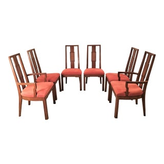 Vintage Mid Century Walnut and Cane Dining Chairs by John Stuart- Set of 6 For Sale