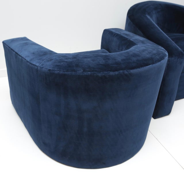 Pair of Velvet Tub Chairs For Sale - Image 10 of 11