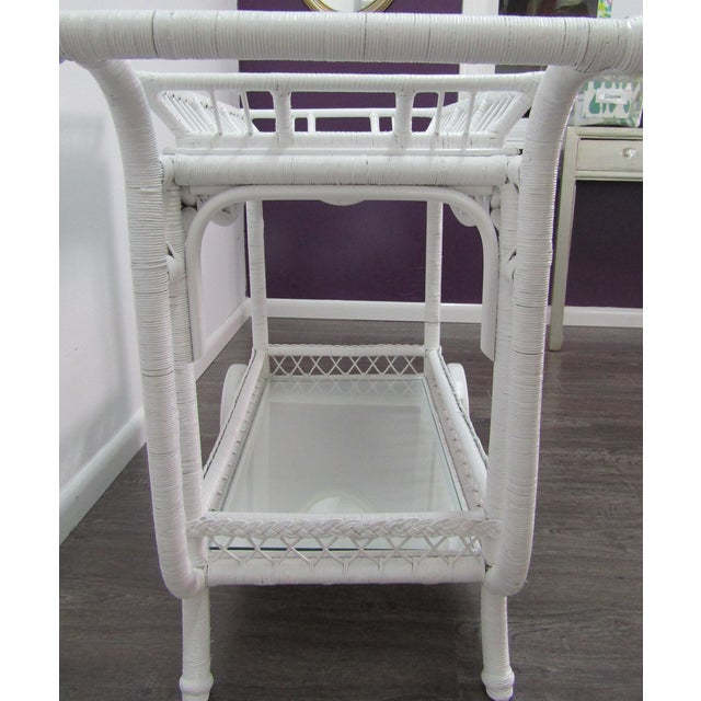 Wicker 1940's Wicker Bar Cart in White Lacquer For Sale - Image 7 of 10