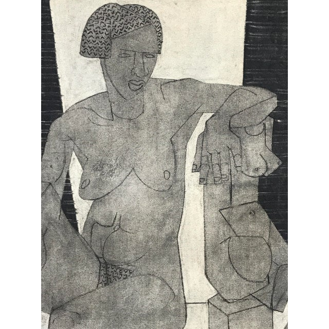 Cubism 1929 Cubist Charcoal Nude Drawing For Sale - Image 3 of 9