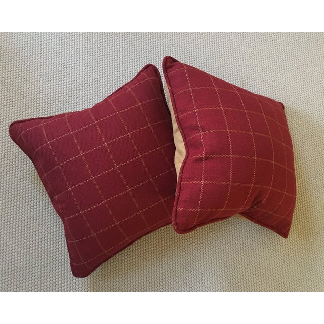 English Traditional Burgundy Twill Check Pillows - A Pair For Sale - Image 3 of 9