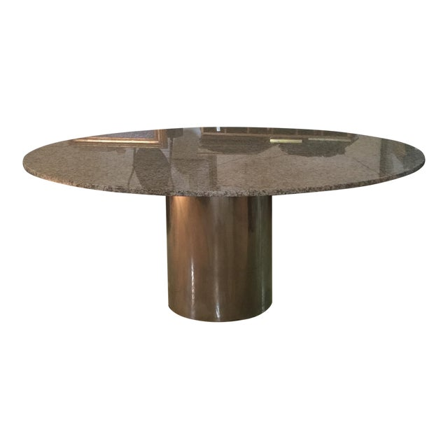 Marble & Chrome Dining Table For Sale