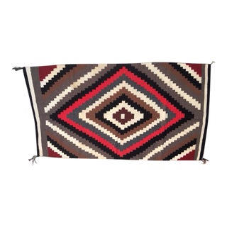 Contemporary Hand-woven Red and Brown Navajo Style Rug by Lupe Piaso - 3′8″ × 7′6″