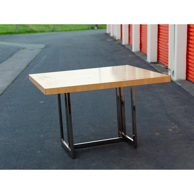 Mid-Century Modern Francois Langin Custom Wood and Chrome Dining Table For Sale In Sacramento - Image 6 of 12