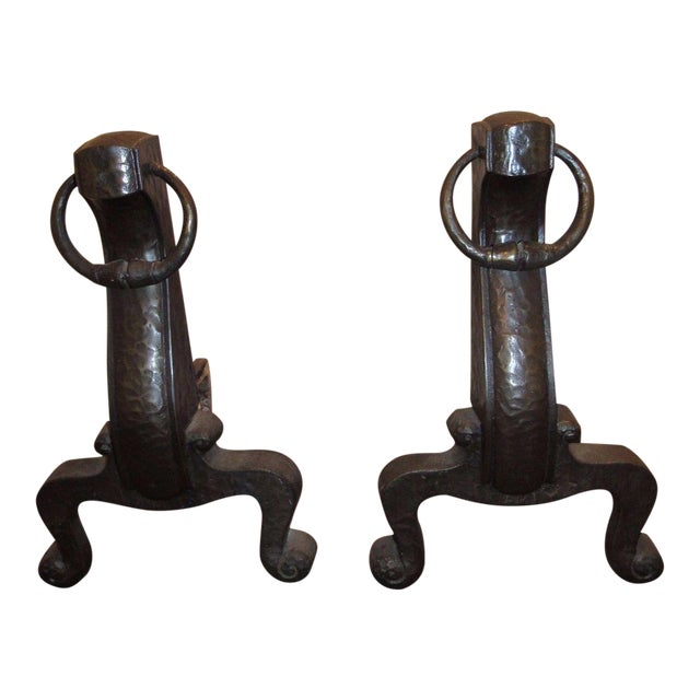 Antique Mission Arts Crafts Bronze Cahill Andirons Fire Dogs Hammered Finish - A Pair For Sale