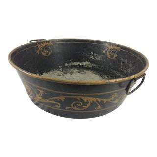 19th Century English Black and Gilded Tole Pot For Sale