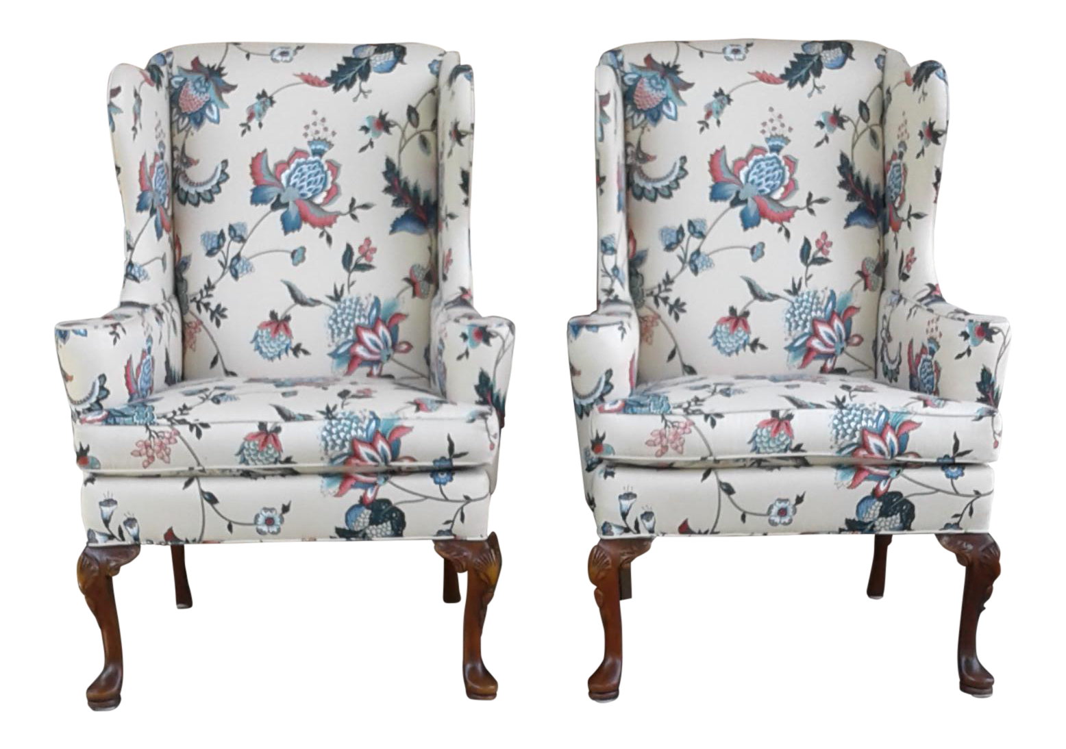 Hickory Queen Anne Wingback Chairs  A Pair
