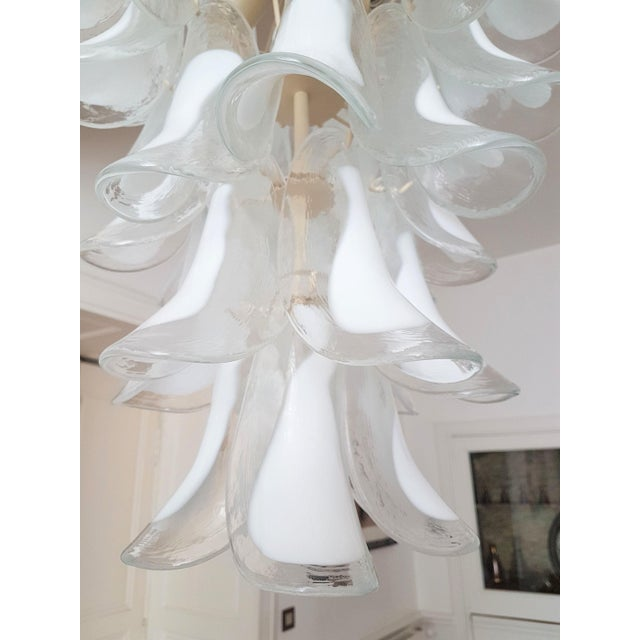 White White Mid Century Modern Murano Glass Chandelier, by Mazzega, 1970s- 2 Available For Sale - Image 8 of 10