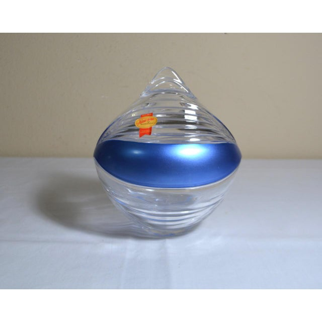 1980s Abstract Anna Hutte Modern Art Glass Bkeikristal Blue & Clear Glass Bowl For Sale - Image 4 of 11