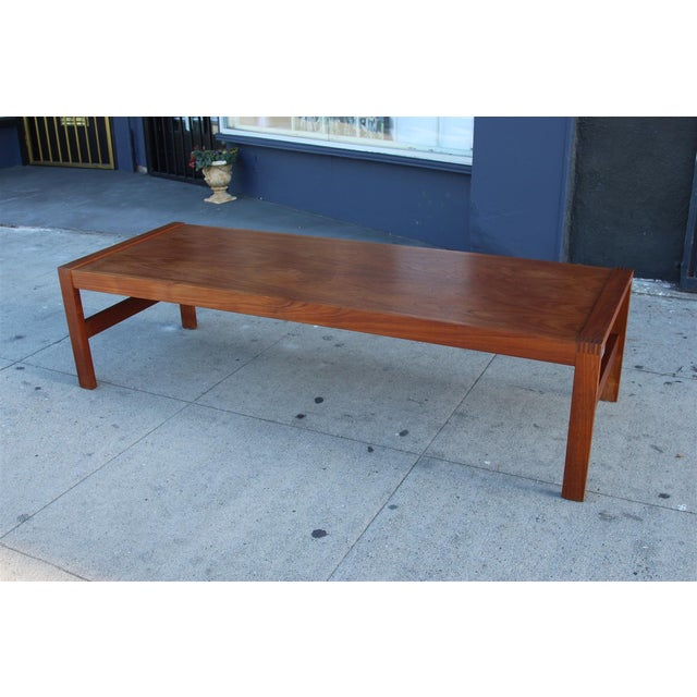 Long Rectangular Cocktail Table in Solid Teak For Sale In Los Angeles - Image 6 of 11
