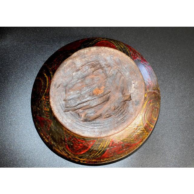 Antique Tibetan Wheat Motif Wooden Bowl For Sale - Image 11 of 13