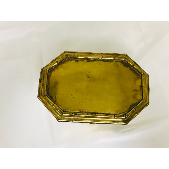 1960s 1960s Asian Faux Bamboo Decorative Brass Box For Sale - Image 5 of 8