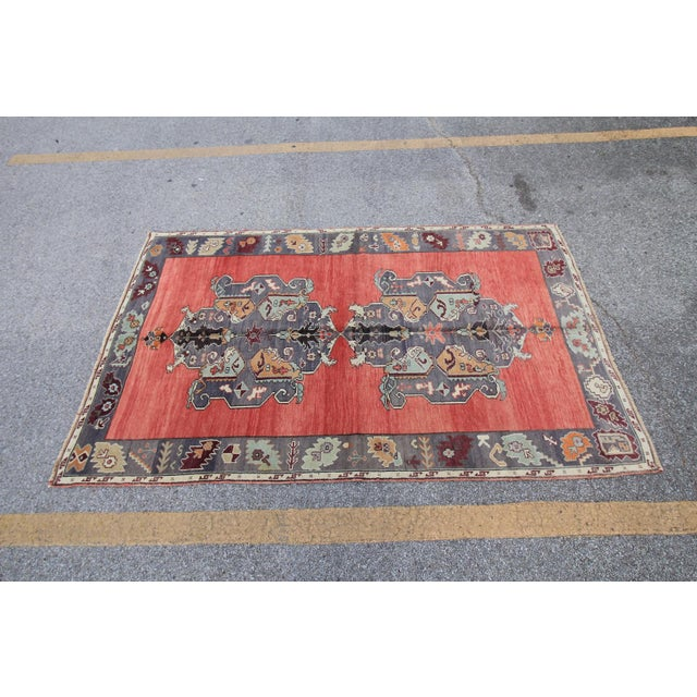 Tribal Antique Turkish Oushak Hand Knotted Rug - 5'1 X 8'2 For Sale - Image 4 of 6