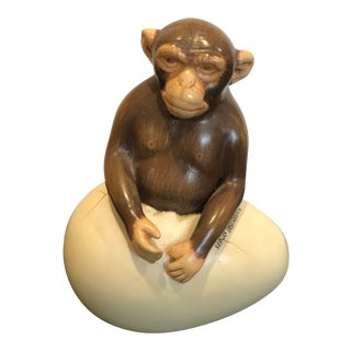1970s Vintage Sergio Bustamante Hand Painted Ceramic Hatching Monkey Egg For Sale
