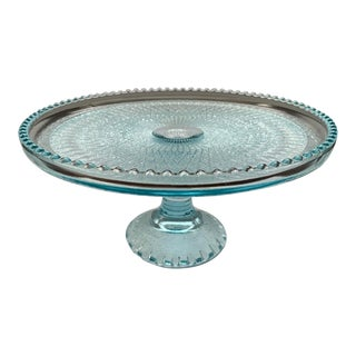 1950s Jeannette Blue Ice Glass Cake Plate Stand For Sale