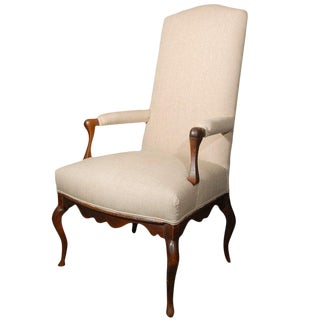 18th Century French Louis XIV Walnut Fauteuil Arm Chair For Sale