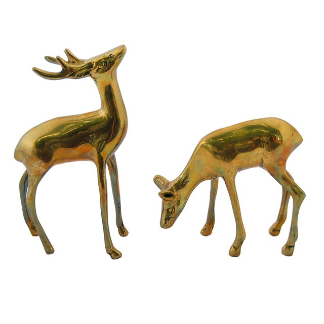 Vintage Brass Deer Figurines - A Pair - Image 3 of 4