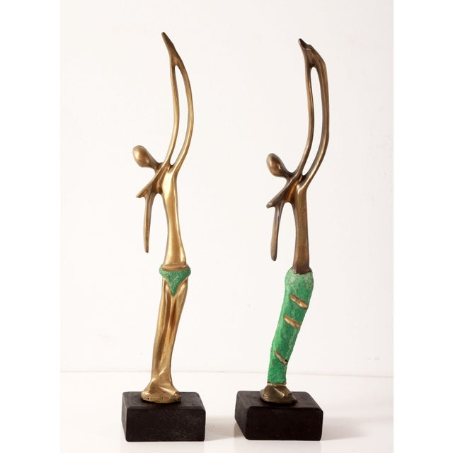 Modernist African Bronze Figural Sculptures From Angola - a Pair For Sale - Image 11 of 11