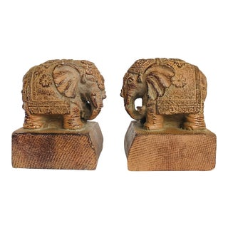 Young Elephants Carved Figurines Bookends Brown Wood Look Vintage Style - a Pair