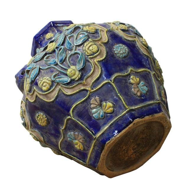 Handmade Ceramic Navy Blue Dimensional Flower Vase For Sale In San Francisco - Image 6 of 7