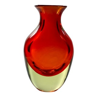 """1965 Antonio Da Ros Cenedese """"Borraccia Ovale"""" Sommerso Red Uranium Glass Vase For Sale"""