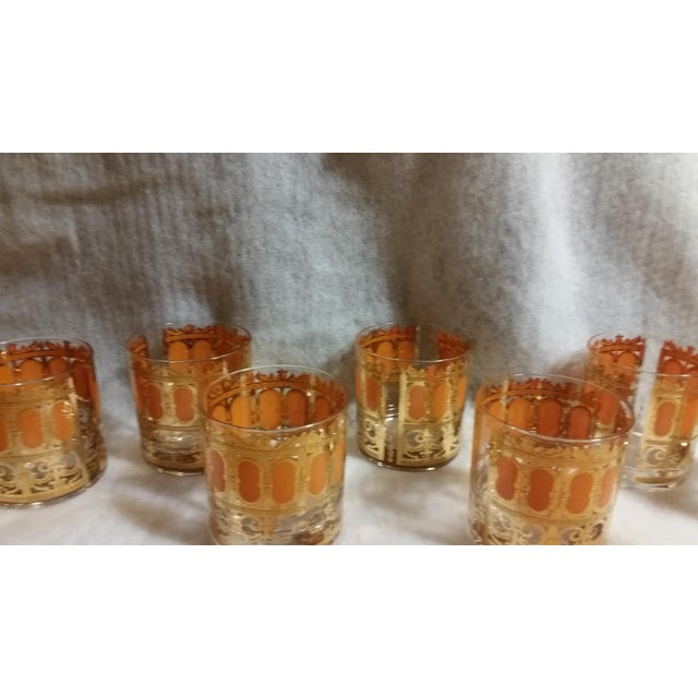 Mid-Century Modern Culver Gold & Orange Enamel Low Ball Glasses - Set of 8 - Image 7 of 7