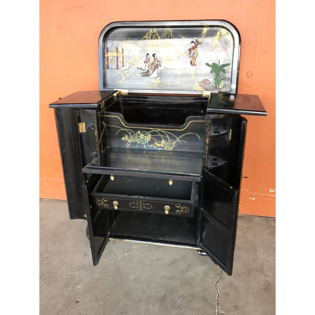 Asian Lacquer and Inlay Hardstone Chinese Dry Bar For Sale - Image 3 of 8